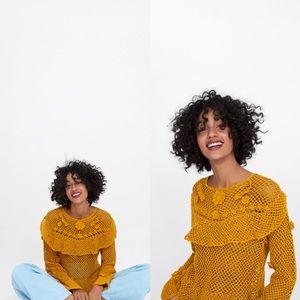 Zara ruffled crocheted sweater